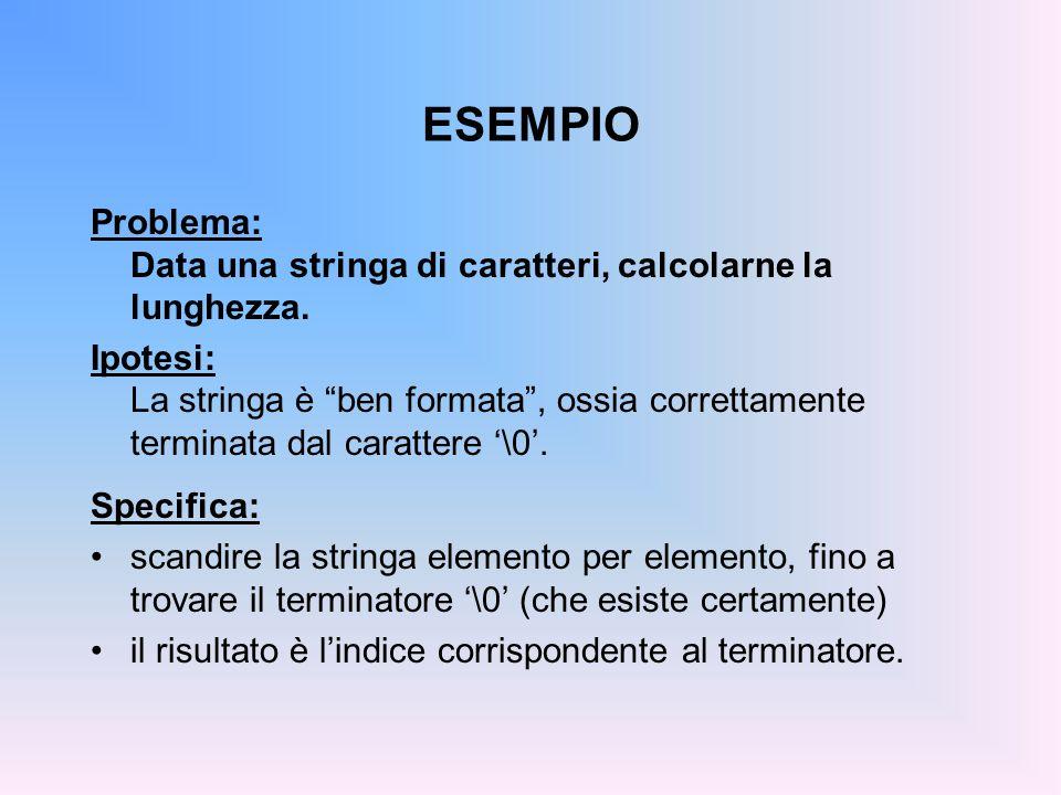ESEMPIO int lunghStr( char s[] ) { int lung=0; for (lung=0; s[lung]!= \0 ; lung++); return lung; } Non occorre dare una dimensione esplicita, data la presenza del terminatore.