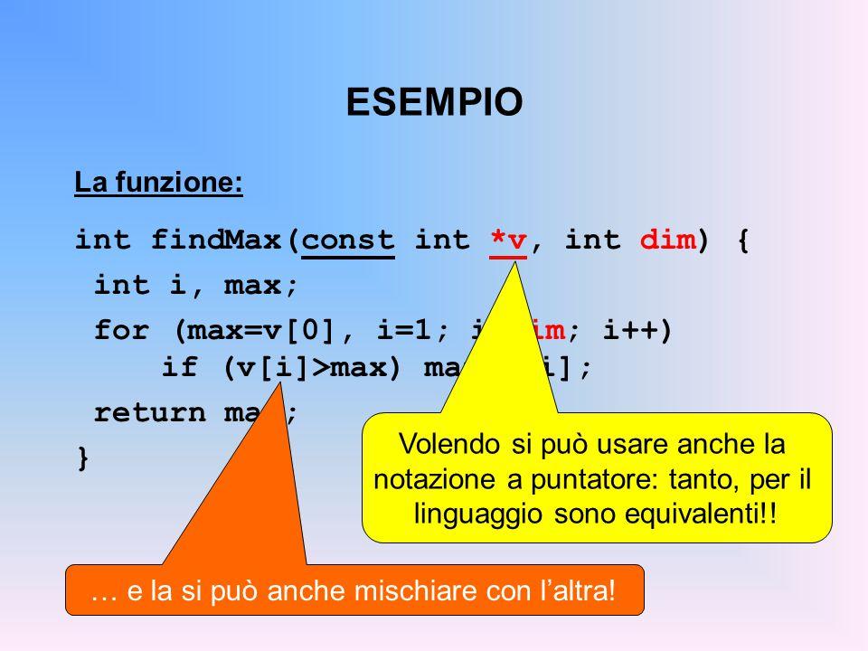 ESEMPIO La funzione: int findMax(const int *v, int dim) { int i, max; for (max=v[0], i=1; i max) max=v[i]; return max; } Volendo si può usare anche la notazione a puntatore: tanto, per il linguaggio sono equivalenti!.
