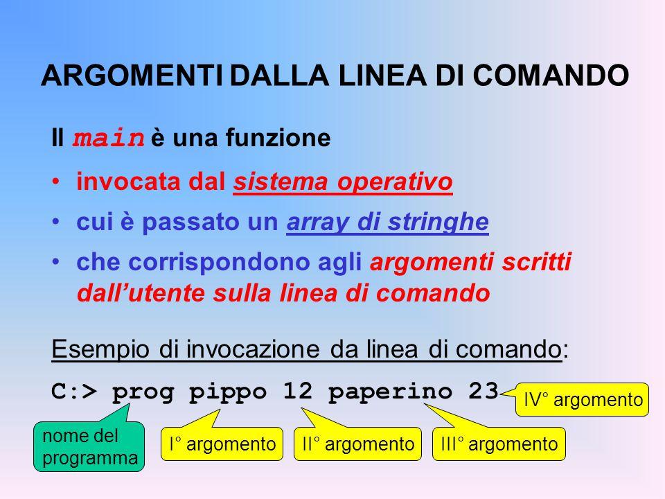 ARGOMENTI DALLA LINEA DI COMANDO Il main è una funzione invocata dal sistema operativo cui è passato un array di stringhe che corrispondono agli argomenti scritti dall'utente sulla linea di comando Esempio di invocazione da linea di comando: C:> prog pippo 12 paperino 23 I° argomento nome del programma II° argomento III° argomento IV° argomento