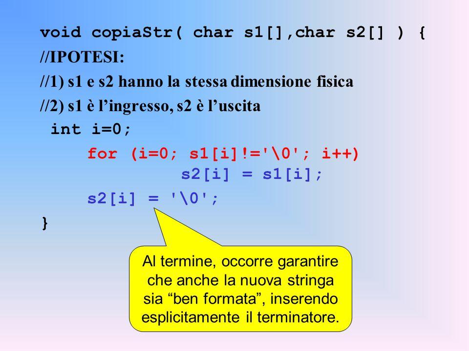 void copiaStr( char s1[],char s2[] ) { //IPOTESI: //1) s1 e s2 hanno la stessa dimensione fisica //2) s1 è l'ingresso, s2 è l'uscita int i=0; for (i=0; s1[i]!= \0 ; i++) s2[i] = s1[i]; s2[i] = \0 ; } Al termine, occorre garantire che anche la nuova stringa sia ben formata , inserendo esplicitamente il terminatore.
