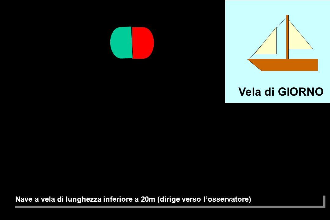 Nave a vela, nave rimorchiata (dirige verso l'osservatore) Vela + motore di GIORNO Vela di GIORNO