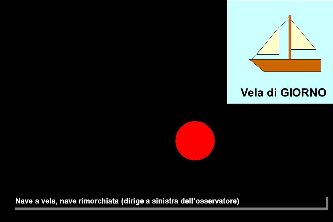 Nave a vela, nave rimorchiata (dirige a dritta dell'osservatore) Vela di GIORNO