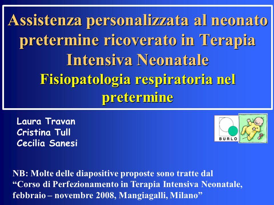 Assistenza personalizzata al neonato pretermine ricoverato in Terapia Intensiva Neonatale Fisiopatologia respiratoria nel pretermine NB: Molte delle d