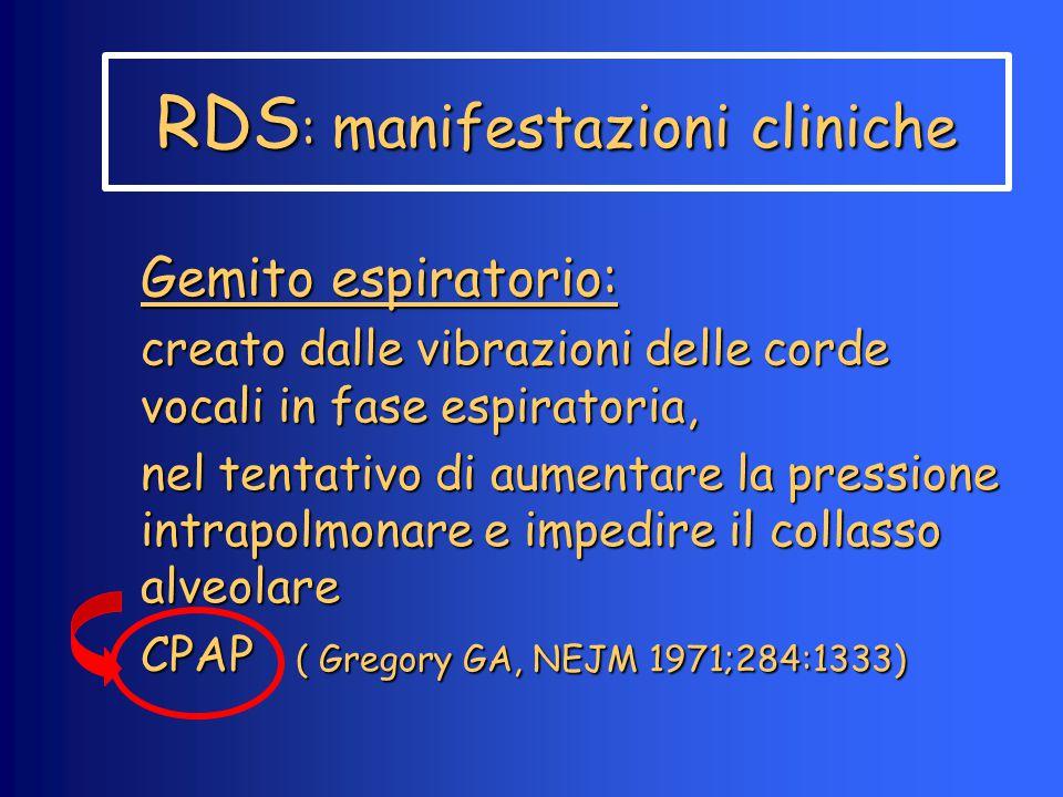 RDS : manifestazioni cliniche Gemito espiratorio: creato dalle vibrazioni delle corde vocali in fase espiratoria, nel tentativo di aumentare la pressi