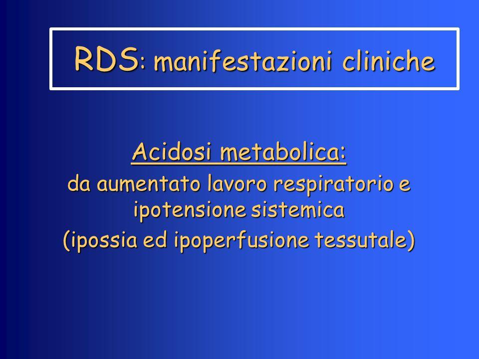 RDS : manifestazioni cliniche Acidosi metabolica: da aumentato lavoro respiratorio e ipotensione sistemica (ipossia ed ipoperfusione tessutale)