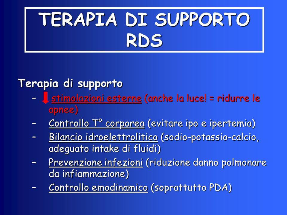 TERAPIA DI SUPPORTO RDS Terapia di supporto – stimolazioni esterne (anche la luce! = ridurre le apnee) –Controllo T° corporea (evitare ipo e ipertemia