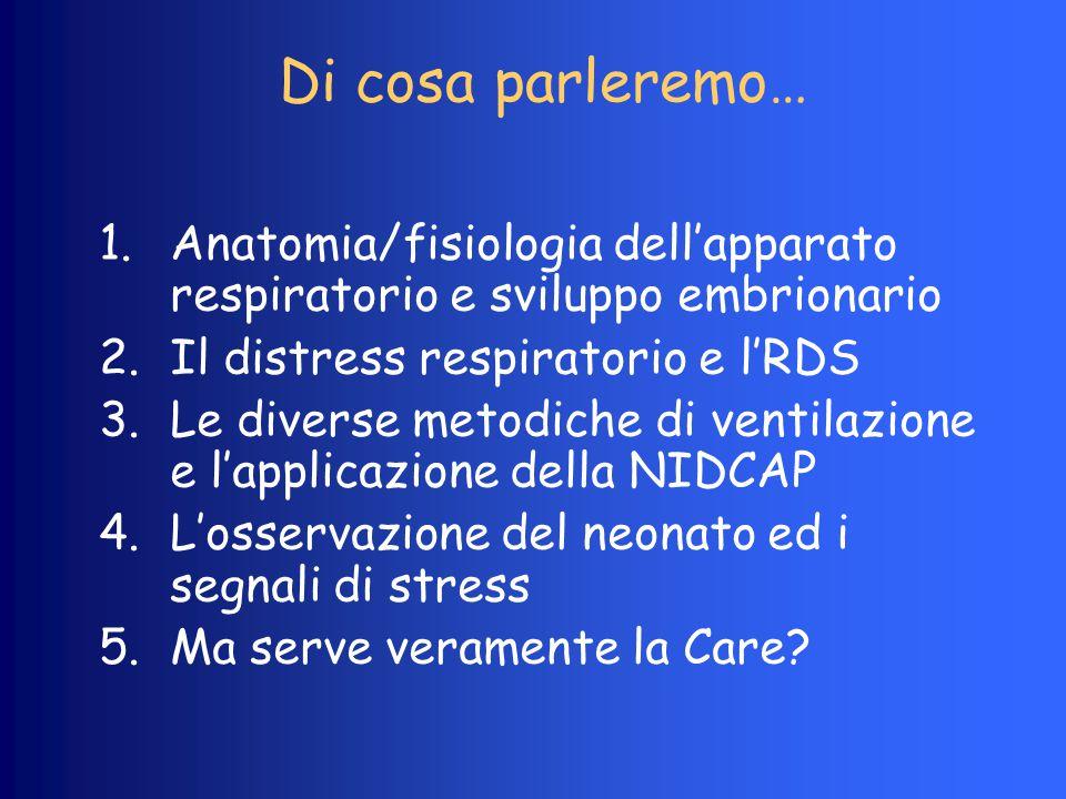 Di cosa parleremo… 1.Anatomia/fisiologia dell'apparato respiratorio e sviluppo embrionario 2.Il distress respiratorio e l'RDS 3.Le diverse metodiche d