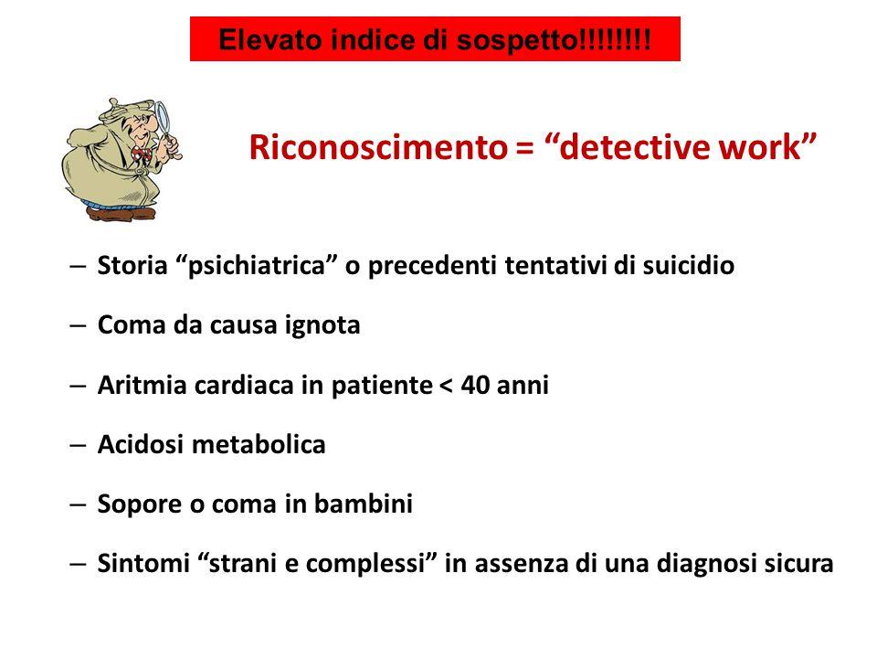 """Elevato indice di sospetto!!!!!!!! – Storia """"psichiatrica"""" o precedenti tentativi di suicidio – Coma da causa ignota – Aritmia cardiaca in patiente <"""
