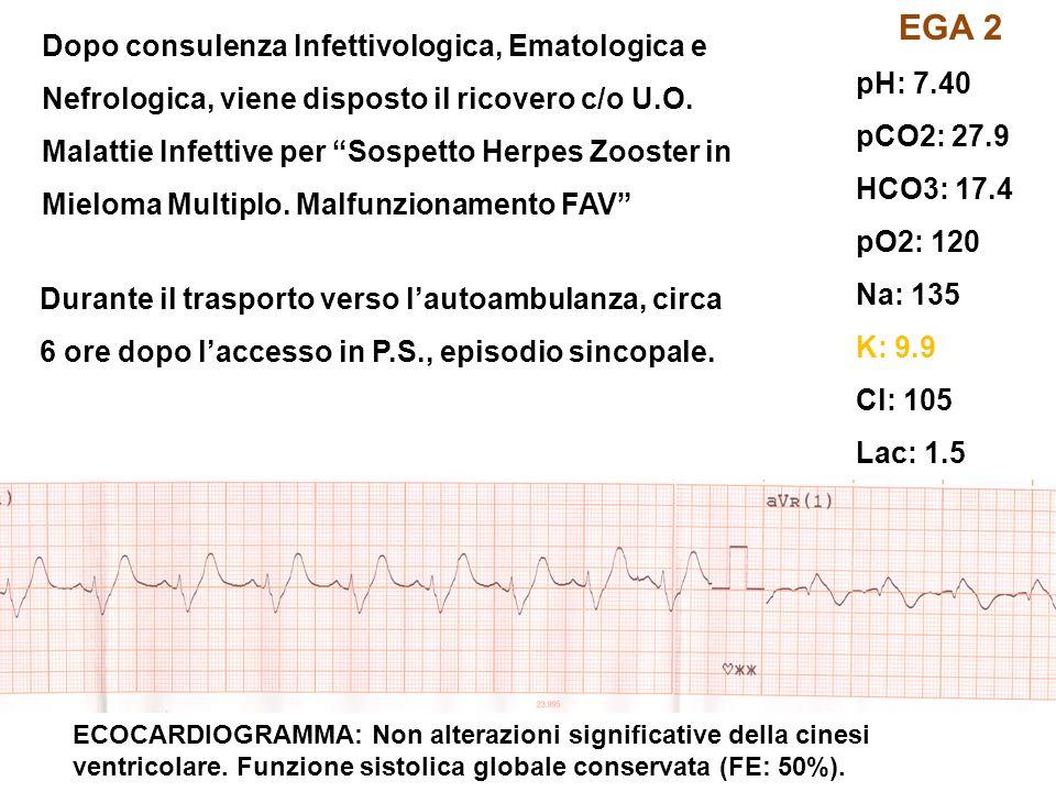 ECOCARDIOGRAMMA: Non alterazioni significative della cinesi ventricolare. Funzione sistolica globale conservata (FE: 50%). EGA 2 pH: 7.40 pCO2: 27.9 H