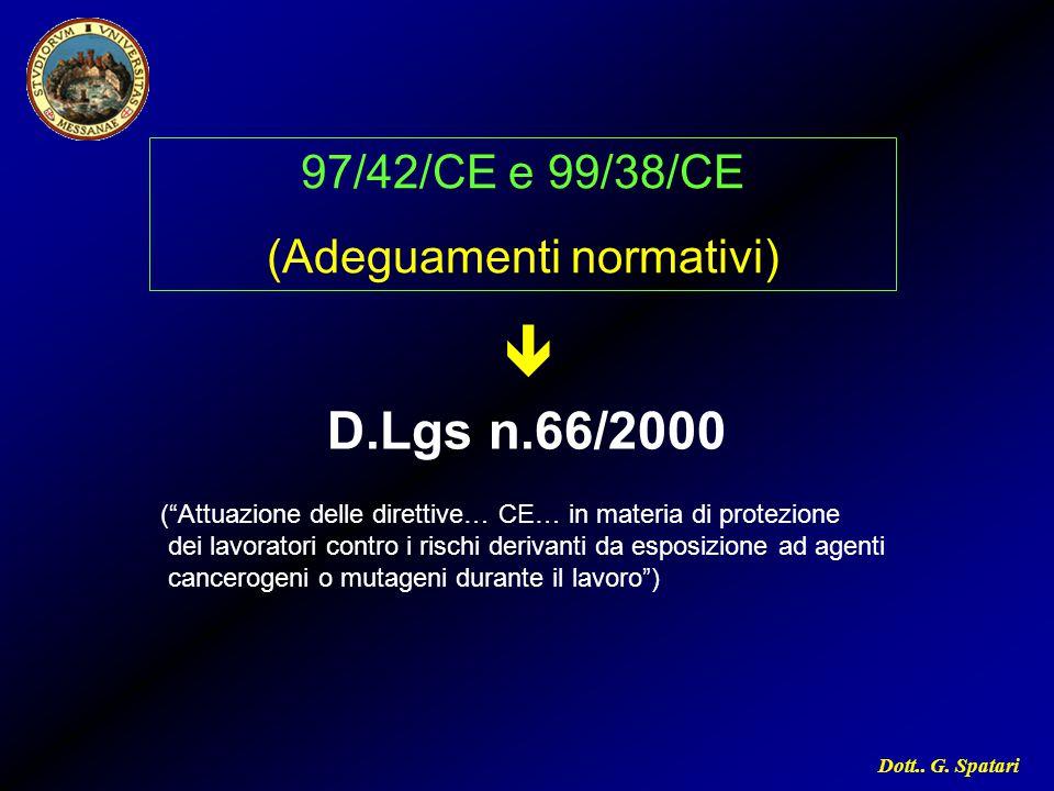 """Dott.. G. Spatari 97/42/CE e 99/38/CE (Adeguamenti normativi) D.Lgs n.66/2000  (""""Attuazione delle direttive… CE… in materia di protezione dei lavorat"""