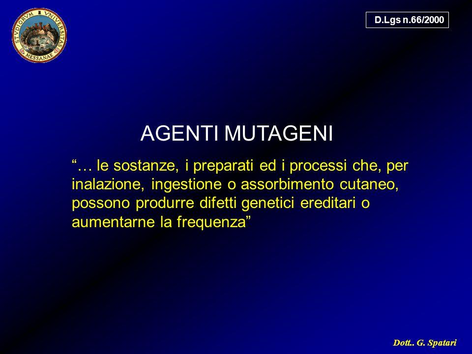 """Dott.. G. Spatari AGENTI MUTAGENI """"… le sostanze, i preparati ed i processi che, per inalazione, ingestione o assorbimento cutaneo, possono produrre d"""