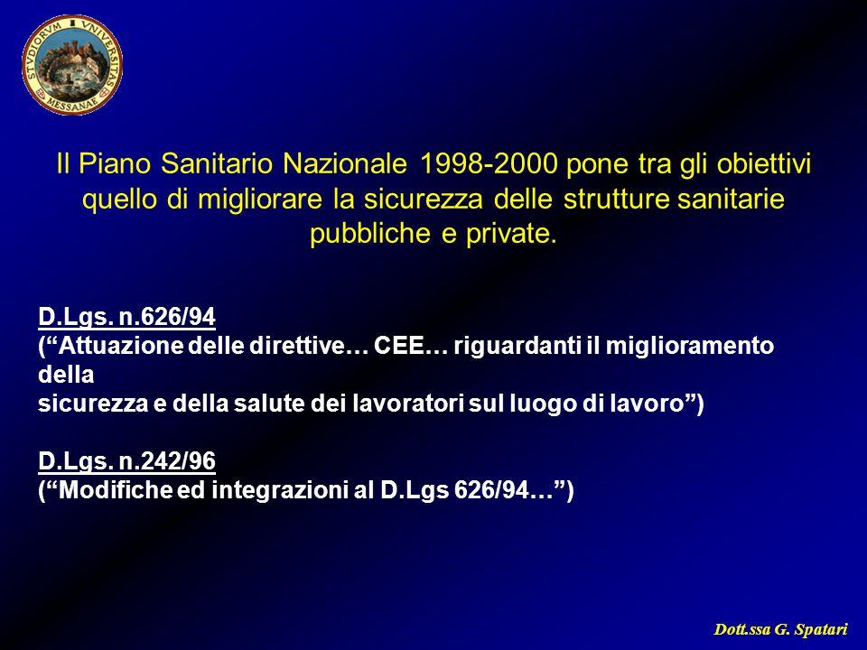 Dott.ssa G. Spatari Il Piano Sanitario Nazionale 1998-2000 pone tra gli obiettivi quello di migliorare la sicurezza delle strutture sanitarie pubblich