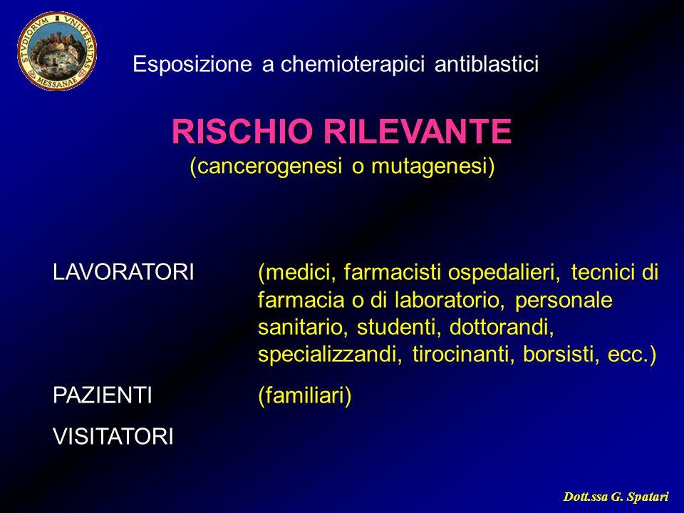 Dott.ssa G. Spatari Esposizione a chemioterapici antiblastici RISCHIO RILEVANTE (cancerogenesi o mutagenesi) LAVORATORI LAVORATORI (medici, farmacisti