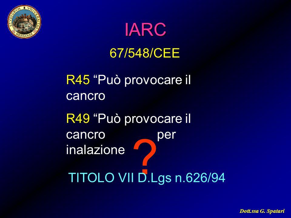 """Dott.ssa G. Spatari ?IARC TITOLO VII D.Lgs n.626/94 R45 R45 """"Può provocare il cancro R49 R49 """"Può provocare il cancro per inalazione 67/548/CEE"""