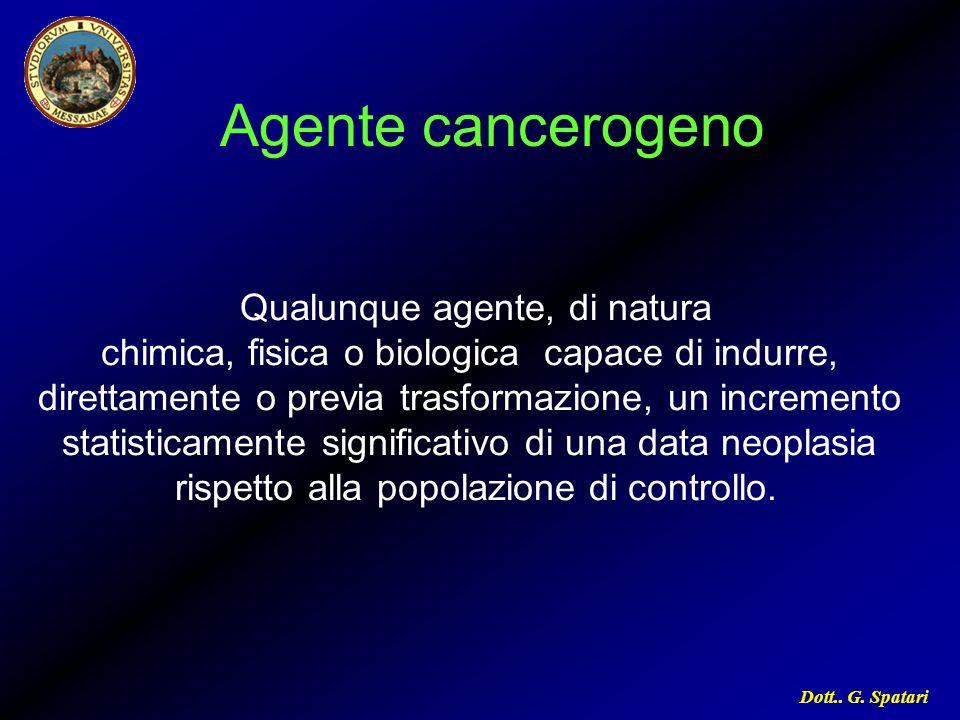 Dott.. G. Spatari Agente cancerogeno Qualunque agente, di natura chimica, fisica o biologica capace di indurre, direttamente o previa trasformazione,