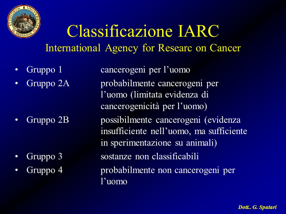 Dott.. G. Spatari Classificazione IARC International Agency for Researc on Cancer Gruppo 1cancerogeni per l'uomo Gruppo 2Aprobabilmente cancerogeni pe