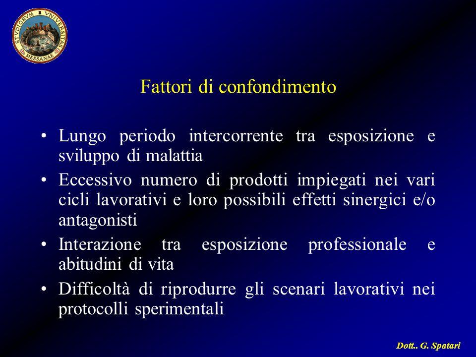 Dott.. G. Spatari Fattori di confondimento Lungo periodo intercorrente tra esposizione e sviluppo di malattia Eccessivo numero di prodotti impiegati n