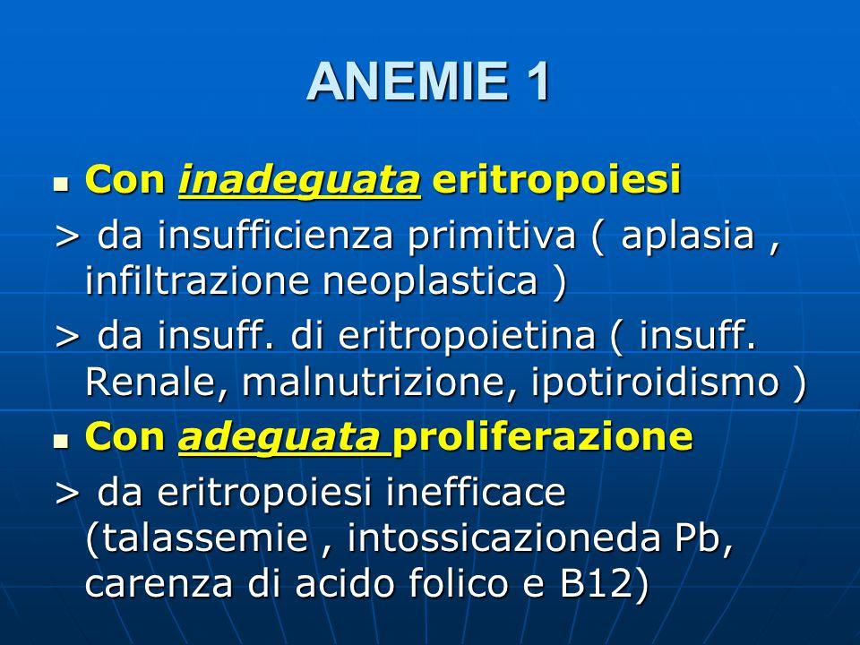 ANEMIE 1 Con inadeguata eritropoiesi Con inadeguata eritropoiesi > da insufficienza primitiva ( aplasia, infiltrazione neoplastica ) > da insuff.