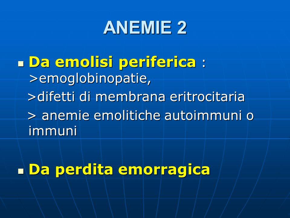 ANEMIE 2 Da emolisi periferica : >emoglobinopatie, Da emolisi periferica : >emoglobinopatie, >difetti di membrana eritrocitaria >difetti di membrana eritrocitaria > anemie emolitiche autoimmuni o immuni > anemie emolitiche autoimmuni o immuni Da perdita emorragica Da perdita emorragica