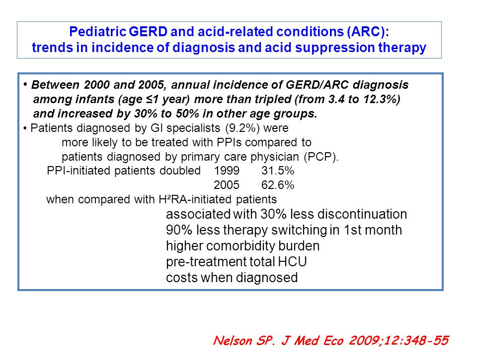 2 11-1-2015 Pediatric GERD and acid-related conditions (ARC): trends in incidence of diagnosis and acid suppression therapy Between 2000 and 2005, ann