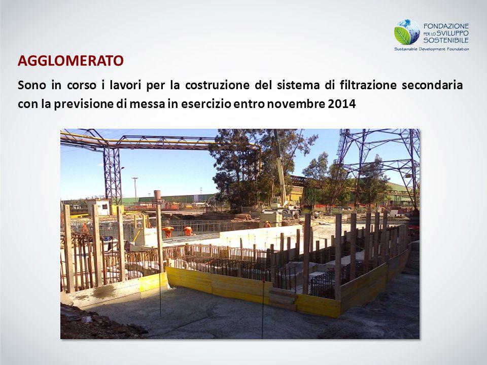 AGGLOMERATO Sono in corso i lavori per la costruzione del sistema di filtrazione secondaria con la previsione di messa in esercizio entro novembre 201