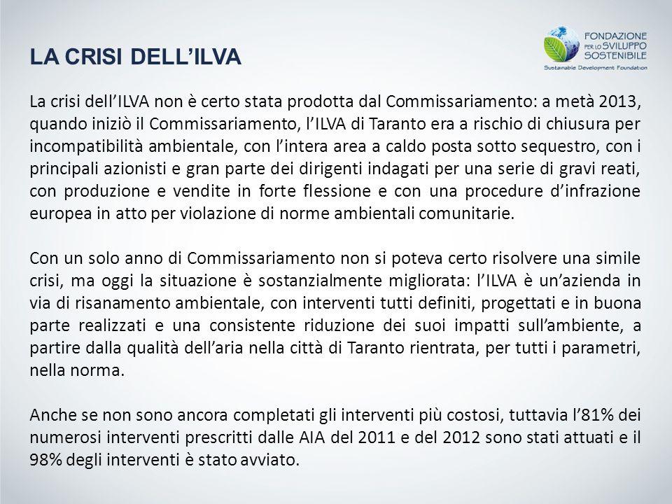 LA CRISI DELL'ILVA La crisi dell'ILVA non è certo stata prodotta dal Commissariamento: a metà 2013, quando iniziò il Commissariamento, l'ILVA di Taran