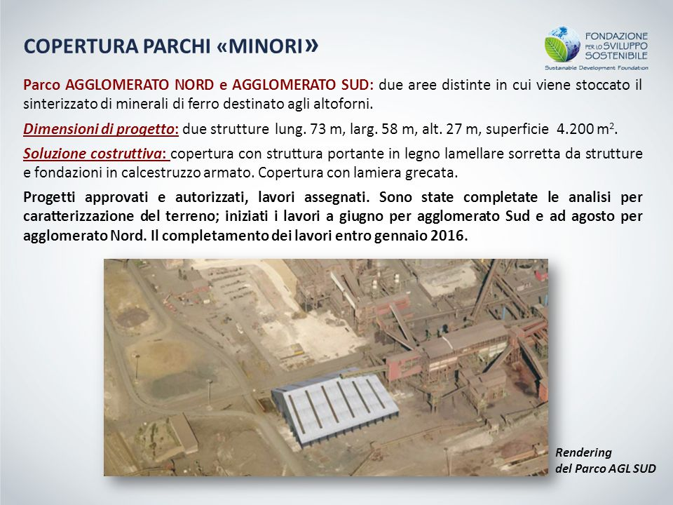 Rendering del Parco AGL SUD Parco AGGLOMERATO NORD e AGGLOMERATO SUD: due aree distinte in cui viene stoccato il sinterizzato di minerali di ferro destinato agli altoforni.