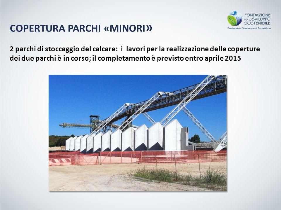 2 parchi di stoccaggio del calcare: i lavori per la realizzazione delle coperture dei due parchi è in corso; il completamento è previsto entro aprile