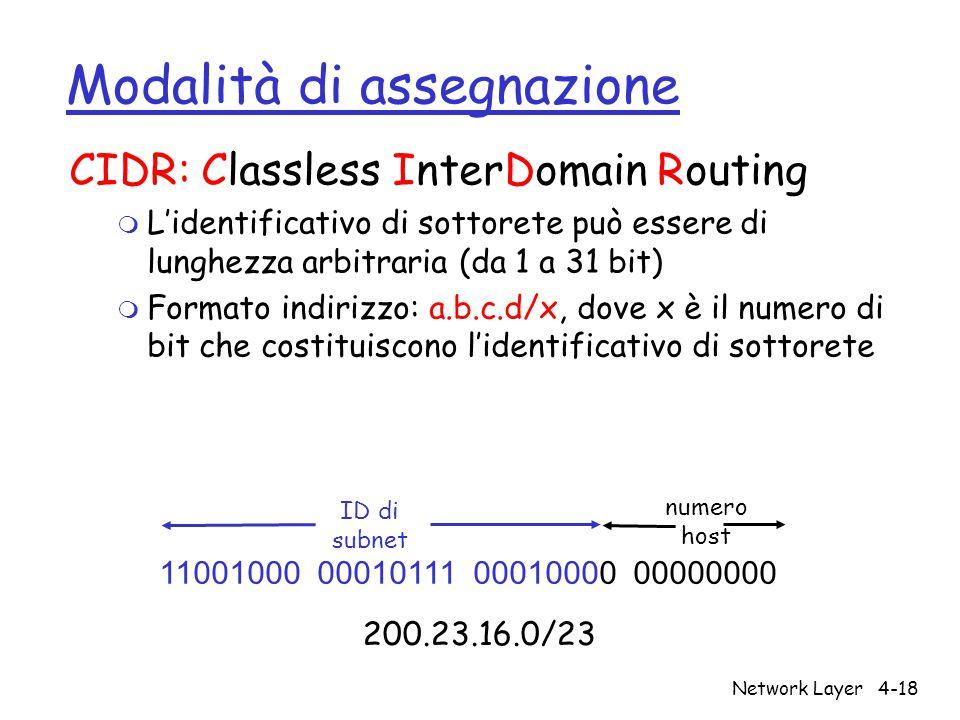 Network Layer4-18 Modalità di assegnazione CIDR: Classless InterDomain Routing m L'identificativo di sottorete può essere di lunghezza arbitraria (da 1 a 31 bit) m Formato indirizzo: a.b.c.d/x, dove x è il numero di bit che costituiscono l'identificativo di sottorete 11001000 00010111 00010000 00000000 ID di subnet numero host 200.23.16.0/23