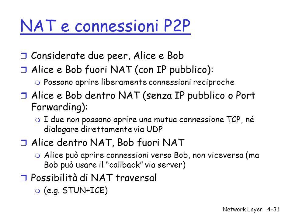 NAT e connessioni P2P r Considerate due peer, Alice e Bob r Alice e Bob fuori NAT (con IP pubblico): m Possono aprire liberamente connessioni reciproche r Alice e Bob dentro NAT (senza IP pubblico o Port Forwarding): m I due non possono aprire una mutua connessione TCP, né dialogare direttamente via UDP r Alice dentro NAT, Bob fuori NAT m Alice può aprire connessioni verso Bob, non viceversa (ma Bob può usare il callback via server) r Possibilità di NAT traversal m (e.g.