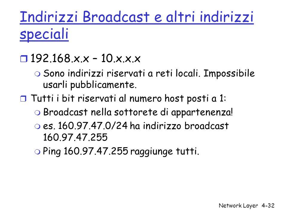 Network Layer4-32 Indirizzi Broadcast e altri indirizzi speciali r 192.168.x.x – 10.x.x.x m Sono indirizzi riservati a reti locali. Impossibile usarli