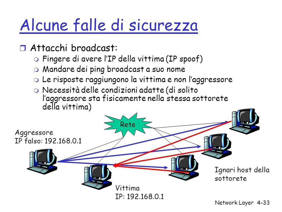 Network Layer4-33 Alcune falle di sicurezza r Attacchi broadcast: m Fingere di avere l'IP della vittima (IP spoof) m Mandare dei ping broadcast a suo nome m Le risposte raggiungono la vittima e non l'aggressore m Necessità delle condizioni adatte (di solito l'aggressore sta fisicamente nella stessa sottorete della vittima) Aggressore IP falso: 192.168.0.1 Rete Vittima IP: 192.168.0.1 Ignari host della sottorete