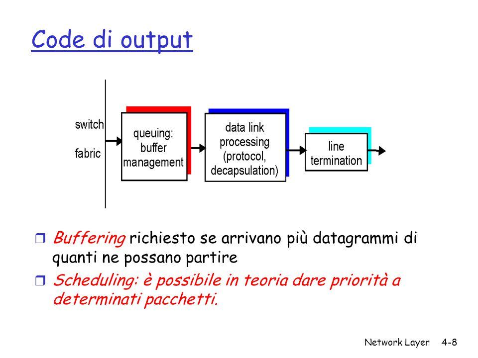 Network Layer4-8 Code di output r Buffering richiesto se arrivano più datagrammi di quanti ne possano partire r Scheduling: è possibile in teoria dare priorità a determinati pacchetti.