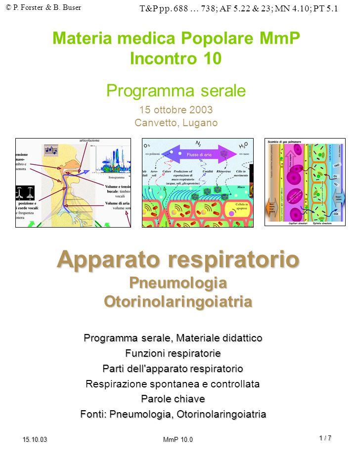 © P. Forster & B. Buser T&P pp. 688 … 738; AF 5.22 & 23; MN 4.10; PT 5.1 15.10.03MmP 10.0 1 / 7 Apparato respiratorio Pneumologia Otorinolaringoiatria