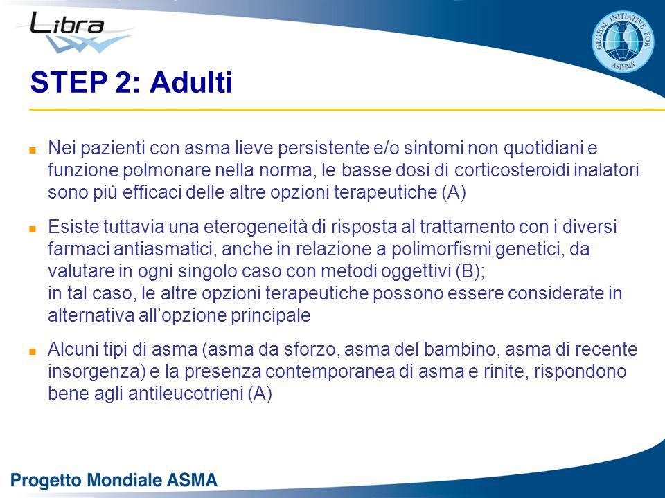 STEP 2: Adulti Nei pazienti con asma lieve persistente e/o sintomi non quotidiani e funzione polmonare nella norma, le basse dosi di corticosteroidi i