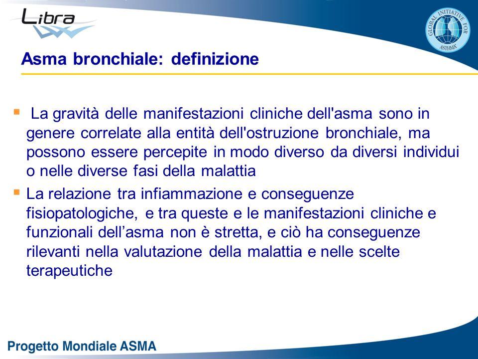  La gravità delle manifestazioni cliniche dell'asma sono in genere correlate alla entità dell'ostruzione bronchiale, ma possono essere percepite in m