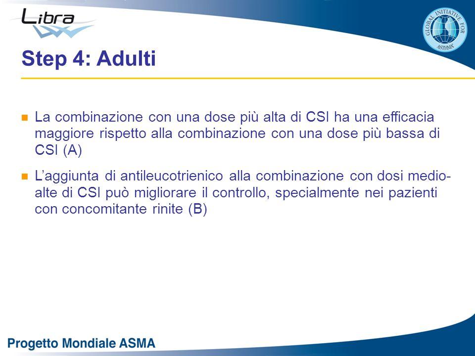 La combinazione con una dose più alta di CSI ha una efficacia maggiore rispetto alla combinazione con una dose più bassa di CSI (A) L'aggiunta di antileucotrienico alla combinazione con dosi medio- alte di CSI può migliorare il controllo, specialmente nei pazienti con concomitante rinite (B) Step 4: Adulti