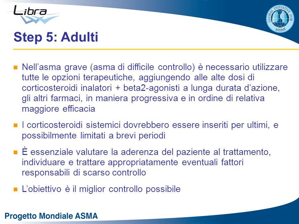 Step 5: Adulti Nell'asma grave (asma di difficile controllo) è necessario utilizzare tutte le opzioni terapeutiche, aggiungendo alle alte dosi di corticosteroidi inalatori + beta2-agonisti a lunga durata d'azione, gli altri farmaci, in maniera progressiva e in ordine di relativa maggiore efficacia I corticosteroidi sistemici dovrebbero essere inseriti per ultimi, e possibilmente limitati a brevi periodi È essenziale valutare la aderenza del paziente al trattamento, individuare e trattare appropriatamente eventuali fattori responsabili di scarso controllo L'obiettivo è il miglior controllo possibile
