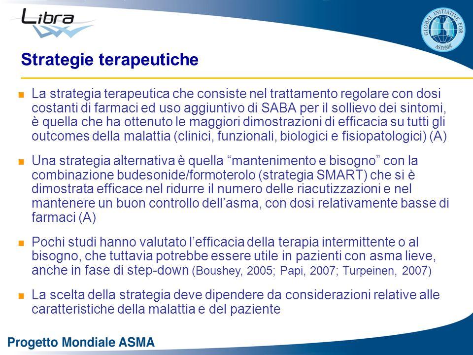 La strategia terapeutica che consiste nel trattamento regolare con dosi costanti di farmaci ed uso aggiuntivo di SABA per il sollievo dei sintomi, è q