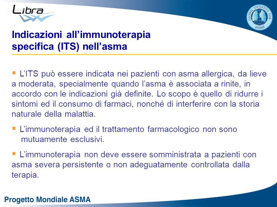 Indicazioni all'immunoterapia specifica (ITS) nell'asma  L'ITS può essere indicata nei pazienti con asma allergica, da lieve a moderata, specialmente quando l'asma è associata a rinite, in accordo con le indicazioni già definite.