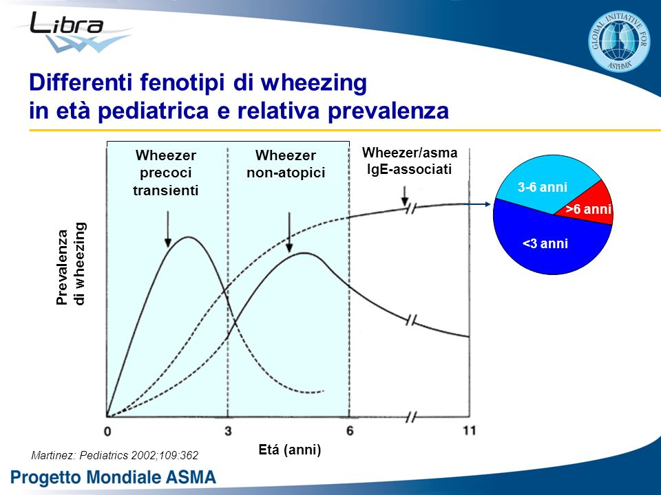 Differenti fenotipi di wheezing in età pediatrica e relativa prevalenza Martinez: Pediatrics 2002;109:362 <3 anni 3-6 anni >6 anni Prevalenza di wheez
