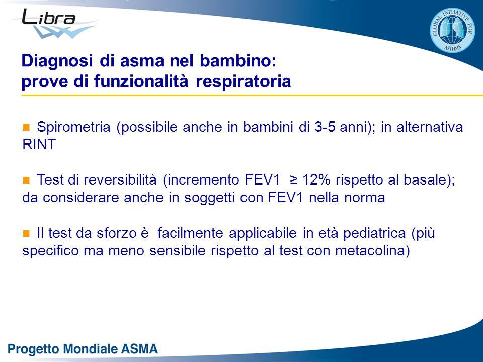 Diagnosi di asma nel bambino: prove di funzionalità respiratoria Spirometria (possibile anche in bambini di 3-5 anni); in alternativa RINT Test di reversibilità (incremento FEV1 ≥ 12% rispetto al basale); da considerare anche in soggetti con FEV1 nella norma Il test da sforzo è facilmente applicabile in età pediatrica (più specifico ma meno sensibile rispetto al test con metacolina)