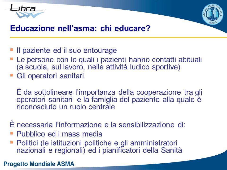 Educazione nell'asma: chi educare?  Il paziente ed il suo entourage  Le persone con le quali i pazienti hanno contatti abituali (a scuola, sul lavor