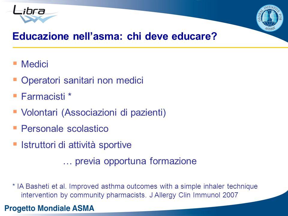  Medici  Operatori sanitari non medici  Farmacisti *  Volontari (Associazioni di pazienti)  Personale scolastico  Istruttori di attività sportiv
