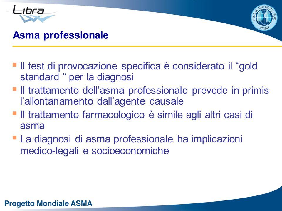 """Asma professionale  Il test di provocazione specifica è considerato il """"gold standard """" per la diagnosi  Il trattamento dell'asma professionale prev"""