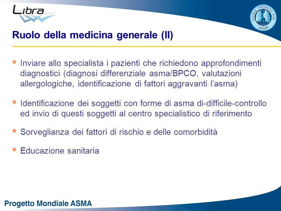 Ruolo della medicina generale (II)  Inviare allo specialista i pazienti che richiedono approfondimenti diagnostici (diagnosi differenziale asma/BPCO,