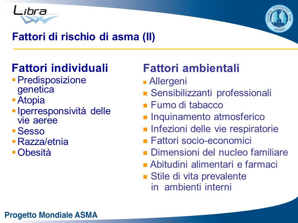 Fattori di rischio di asma (II) Fattori individuali  Predisposizione genetica  Atopia  Iperresponsività delle vie aeree  Sesso  Razza/etnia  Obe