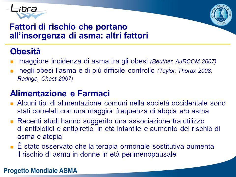 Obesità maggiore incidenza di asma tra gli obesi (Beuther, AJRCCM 2007) negli obesi l'asma è di più difficile controllo (Taylor, Thorax 2008; Rodrigo,