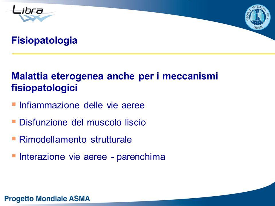 Fisiopatologia Malattia eterogenea anche per i meccanismi fisiopatologici  Infiammazione delle vie aeree  Disfunzione del muscolo liscio  Rimodellamento strutturale  Interazione vie aeree - parenchima