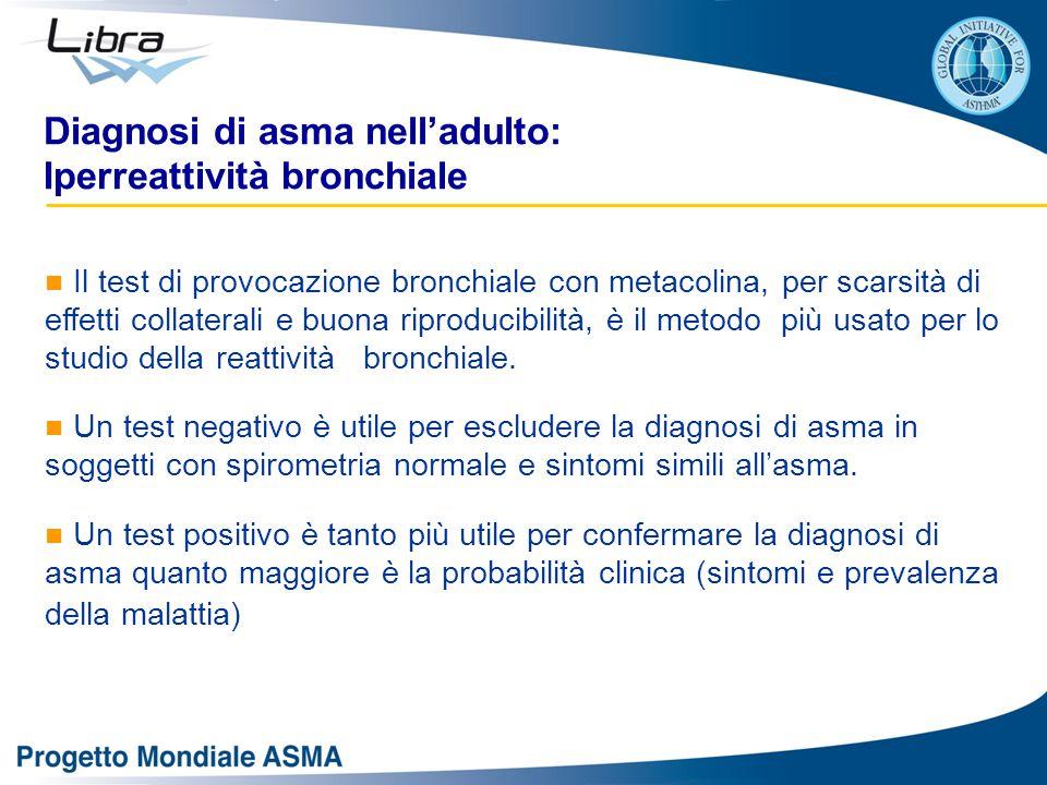 Il test di provocazione bronchiale con metacolina, per scarsità di effetti collaterali e buona riproducibilità, è il metodo più usato per lo studio della reattività bronchiale.